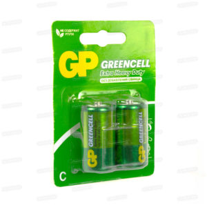 Батарейка GP Greencell Extra Heavy Duty R14/С BL2 (20/288) [GP14G-2CR2] БЗ000243