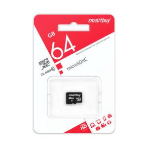 microSDHC 64Gb Class10 Карта памяти Smartbuy адаптер [SB64GBSDCL10-01] БЗ000366