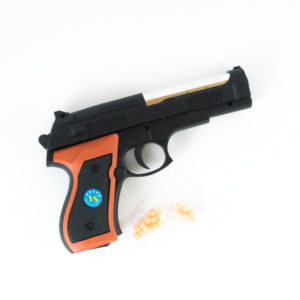 Пистолет пневматический (под пульки) 15.0см средний «FEI LI » арт.L208,  пластиковый, пульки в комплекте, пакет,15.0х10х2.7см (180/360) БЗ002468
