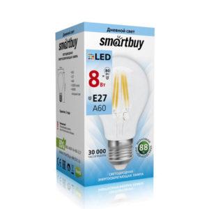 Лампа светодиодная A60 Filament Smartbuy 8W E27 4000К,750Lm,холодный свет,110х60мм (10/50) [SBL-A60F-8-40K-E27-N] БЗ002773