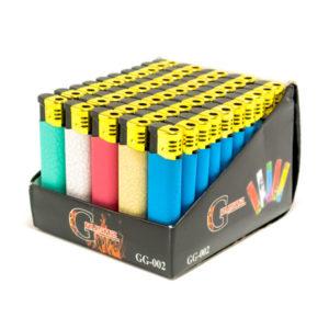 Зажигалка газовая карманная пьезо «GRUZAS GG-002(00)» 5 цветов, обрезиненный пластик, нажимной механизм (50/1000) БЗ002796