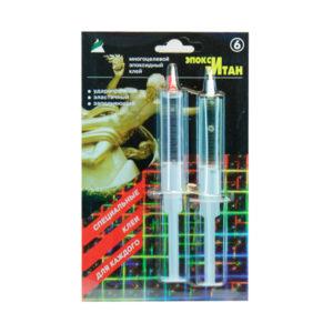 Клей эпоксикаучуковый двухкомпонентный шприц «Эпокси Титан» №6, 2х10+10мл. высокой прочности, блистер (1/40) БЗ002821