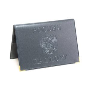 Обложка на паспорт ПВХ тиснение «Графит Люкс» золотом, горизонтальный,цвет микс (50/600) БЗ002864