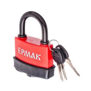 ЕРМАК Замок навесной всепогодный 50мм на блистере (аналог АЛЛЮР ВС1С-50П) d=9.14мм, комплект 3 англиских ключа, покрыт пластиковой оболочкой, 85.0х46.3х58.57мм, вес 296гр. (6/?) БЗ002944