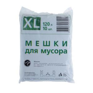 УБпластик «Стандарт» мешки в СТОПЕ с ручками для мусора 120л/10шт.(размер XL) 12мк, пакет, цвет черный, 700х1100мм (40) БЗ003000