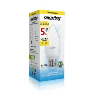 Лампа светодиодная С37 Smartbuy 5.0W/40Вт, E27, 3000К, свеча, тёплый свет, матовая колба,100х37мм (10/100) [SBL-С37-05-30K-E27] БЗ003154