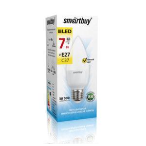 Лампа св/д С37 Smartbuy 7.0W/60Вт, E27, 3000К, свеча, тёплый свет, матовая колба,100х37мм (10/100) [SBL-С37-07-30K-E27] БЗ003155