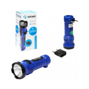 Фонарь ручной аккумуляторный Космос КОСAcc102WLED 1 диод линза (0.5W), 4V, 0.3Ah,черный-синий ABS-пластик, выдвижная вилка, блистер (12/24) БЗ003347