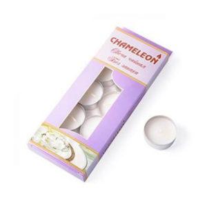 Свеча чайная плавающая в гильзе, 12гр., по 10шт. «Chameleon» арт.С00-12, белая, не ароматизированная, в коробке (1/48) БЗ003602
