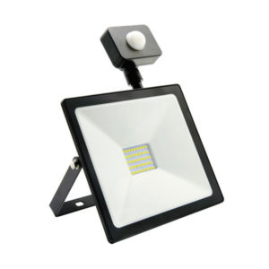 Светодиодный прожектор с датчиком движения 30W/300Вт, 2400Lm, 6500К холодный свет, 220В, пылевлагозащита IP65, цвет чёрный, Smartbay SBL-FLSen-30-65K, 225х185х48мм (1/20) БЗ004137