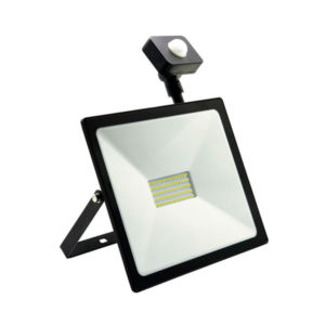 Светодиодный прожектор с датчиком движения 50W/500Вт, 4000Lm, 6500К холодный свет, 220В, пылевлагозащита IP65, цвет чёрный, Smartbay SBL-FLSen-50-65K, 280х235х130мм (1/20) БЗ004138