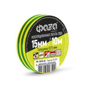 Изолента ПВХ ФАZA 15мм x 10м x 0,15мм желто-зеленый, инд.упаковка (10/200) [TP-1510-yg] БЗ004424