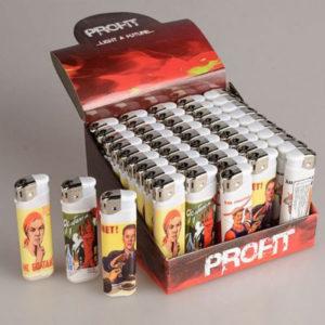 Зажигалка газовая карманная пьезо «PROFIT PL-202(24)» Плакаты (POSTERS), нажимной механизм (50/1000) БЗ004499