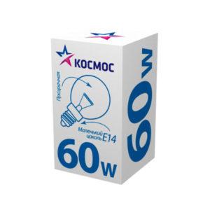 Лампа накаливания общего назначения Р45 КОСМОС ДШ230-60Вт E14 шар,коробка,прозрачная (1/100) БЗ004748