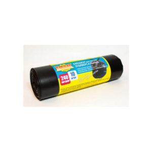 Крепак мешки в РУЛОНЕ для мусора 240л/10шт,40мк.,черный,1000х1250мм (10) БЗ004881