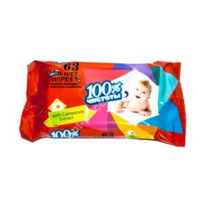 100% Чистоты Влажные салфетки 63шт. с ароматом, для детей «Camomile» (1/22) БЗ005191