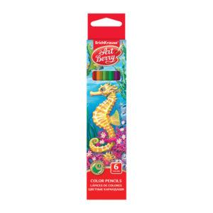 Карандаши графитные цветные 06 цветов «Erich Krause» Art Berry, арт. ЕК 32877  заточенные, картонная упаковка, европодвес (1/5/480) БЗ005215