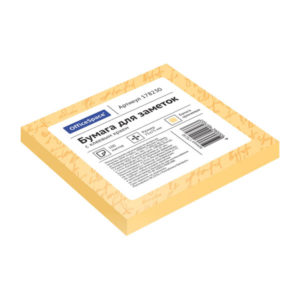 Самоклеящийся блок цвет оранжевый 75х75 мм, «ArtSpace» 100 листов (1/12/186) БЗ005262