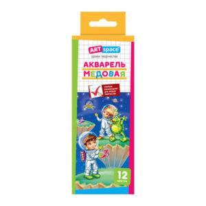 Краски акварельные медовые 12 цветов «ARTspace» Космонавты, арт.Ак_1074, без кисти, в картонной упаковке с европодвесом, с 3 лет (1/10/40) БЗ005327
