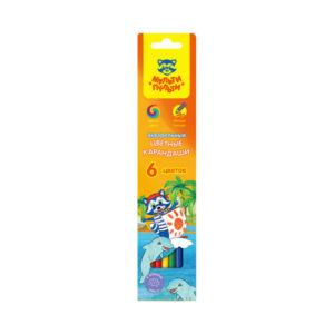 Карандаши акварельные цветные 06 цветов «Мульти-Пульти» Енот в Карибском море, арт. 10760 заточенные, картонная упаковка, европодвес (6/24/480) БЗ005332