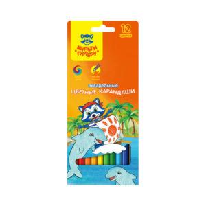Карандаши акварельные цветные 12 цветов «Мульти-Пульти» Енот в Карибском море, арт. 10762 заточенные, картонная упаковка, европодвес (2/12/240) БЗ005333