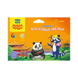 Набор цветных маслянных мелков 12 цветов «Мульти-Пульти» Енот в Китае, арт.ОС_10455, в картонной упаковке, европодвес  (1/6/24) БЗ005351