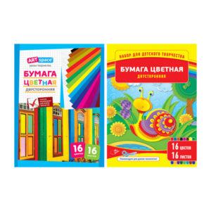 Бумага цветная двусторонняя А4, 16листов, 16цветов «ARTspace», арт. Нб16-16дв_4291 (1/25) БЗ005396