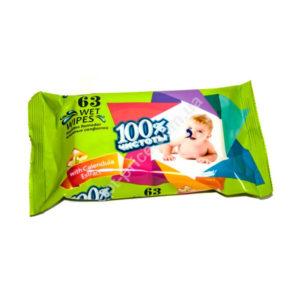 100% Чистоты Влажные салфетки 63шт. с ароматом, для детей «Calendula» (1/22) БЗ005446
