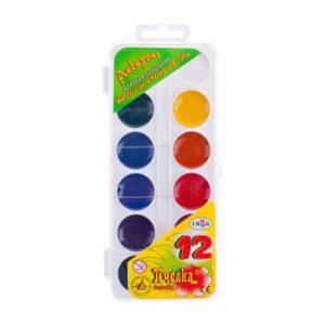 Краски акварельные медовые полусухие 12 цветов «Гамма» Пчелка, арт.212040, без кисточки, пластик с европодвесом, с 3 лет (1/6) БЗ005449