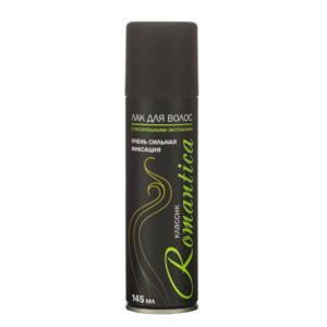 Лак для волос «Романтика» классик, сильной фиксации, 145мл/100гр., цвет балона: чёрный, 144201(1/24) БЗ005461