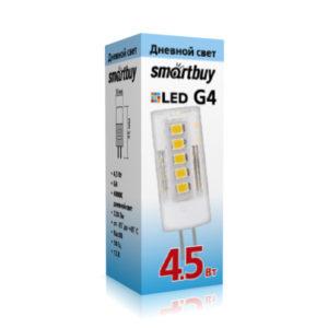 Лампа светодиодная G4 Smartbuy 4.5W(200Lm) 12V 4000K холодный свет,матовая колба,38×12мм (100) БЗ005653