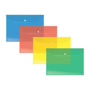 Папка-конверт на кнопке А4, «Berlingo», 140мкм, арт.АКк_04309, прозрачная, ассорти (12/360/720) БЗ005695