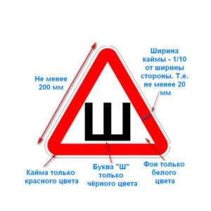 Знак наружный виниловый самоклеющийся «Шипы» арт.213/22 треугольник, 213х213мм, ширина линии 22мм (1/50) БЗ005962