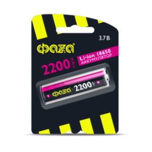 Аккумулятор Li-ion 18650 защищённый «ФАZА» 2200mAh, 3.7V, 18х65мм, блистер (1/10) [Li18650-2200-B1] БЗ006447