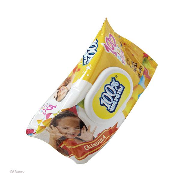 """100% Чистоты Влажные салфетки с клапаном 100шт. с ароматом, для детей , """"Calendula"""" (1/18) БЗ006492"""