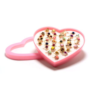 Кольцо детское металлическое упаковка пластиковое сердце 36шт. MIX № 1, цвет и формы микс, безразмерное (36) БЗ006501