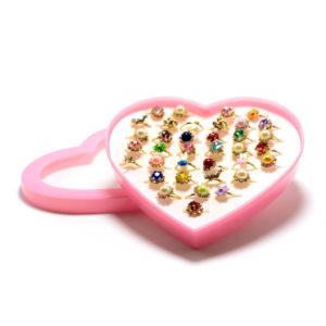 Кольцо детское металлическое упаковка пластиковое сердце 36шт. MIX № 2, цвет и формы микс, безразмерное (36) БЗ006502