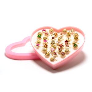 Кольцо детское металлическое упаковка пластиковое сердце 36шт. MIX № 3, цвет и формы микс, безразмерное (36) БЗ006503