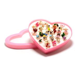 Кольцо детское металлическое упаковка пластиковое сердце 36шт. MIX № 4, цвет и формы микс, безразмерное (36) БЗ006504