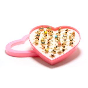 Кольцо детское металлическое упаковка пластиковое сердце 36шт. MIX № 5, «Фигуры крупные»,+ 14 страз, цвет и формы(квадрат,треугольник круг,звезда) микс, безразмерное (36) БЗ006505