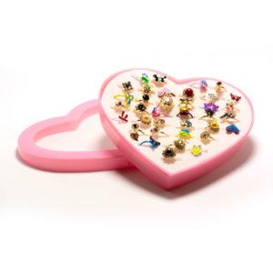 Кольцо детское металлическое упаковка пластиковое сердце 36шт. MIX № 6, цвет и формы микс, безразмерное (36) БЗ006506