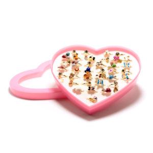 Кольцо детское металлическое упаковка пластиковое сердце 36шт. MIX № 7, цвет и формы микс, безразмерное (36) БЗ006507