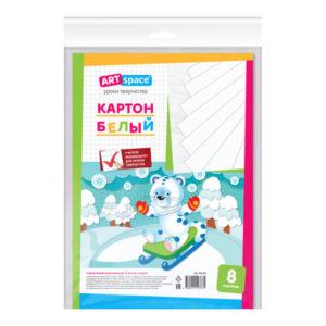 Картон белый немелованный А4, 8 листов «ARTspace», арт.264189, в пакете с европодвесом (1/21) БЗ007277