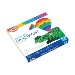 Пластилин в наборе 12 цветов «Гамма» классический, 240гр. арт.281033, в картонной коробке (1/16) БЗ007378