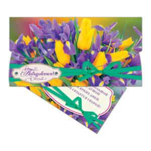 Конверт для денег 37967 «Поздравляем!» крокусы+тюльпаны 16.5×8.5 см(10) БЗ007647
