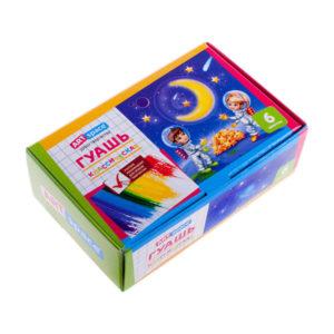Гуашь акварельная 06 цветов «ArtSpace» классическая, арт.Gk-06_739, без кисти, в картонной упаковке с 3 лет, 20мл (1/6) БЗ007683