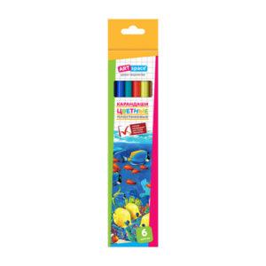 Карандаши графитные цветные пластиковые 06 цветов «ARTspace» арт.237345, Подводный мир, длина 175 мм (1/24) БЗ007804