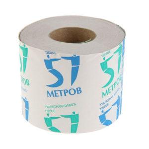 Туалетная бумага на втулке однослойная  «57 метров» 57 метров, 100гр. (24) БЗ007812