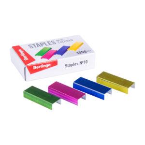 Скобы для степлера оцинкованные №10/5 Berlingo, цветные арт.SH705 (1000 скоб в упаковке) (1/20) БЗ007829
