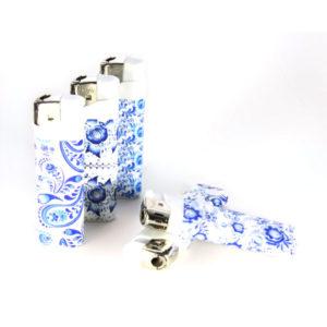 Зажигалка газовая карманная пьезо «PROFIT PL-202(13)» Гжель(GZEL), нажимной механизм (50/1000) БЗ007867